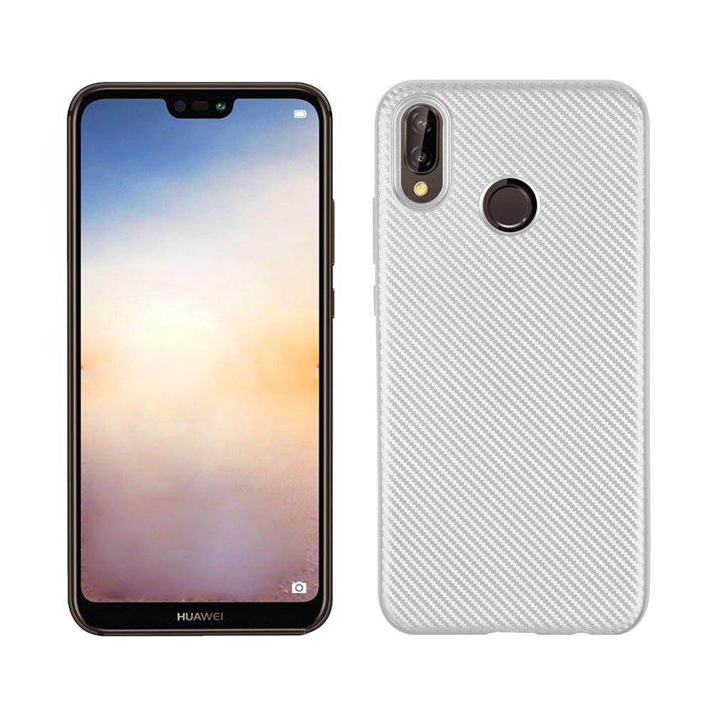 Case for Huawei P20 Lite Soft Carbon Fiber Cover - SILVER