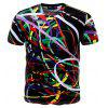 Summer Fashion Color 3D Print Men Short Sleeved T-Shirts - multicolor 3XL