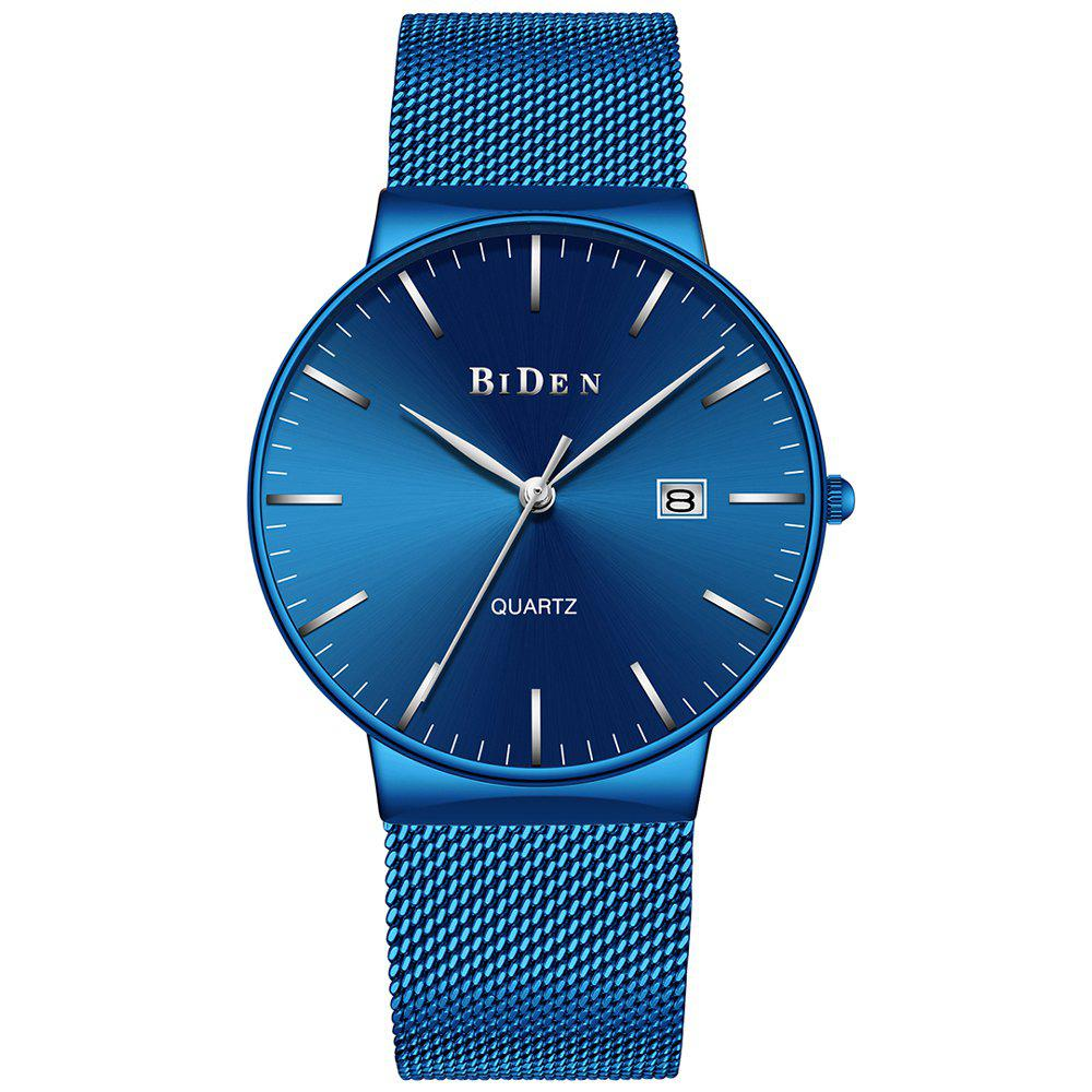 BIDEN 047 mode nouvelle montre-bracelet simple à quartz des hommes occasionnels - Bleu Royal