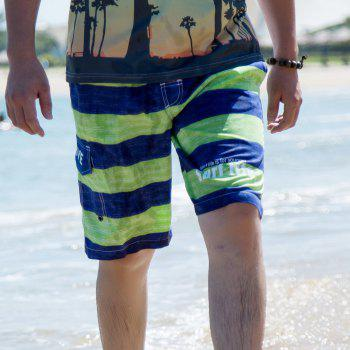 Men's Solid Sexy Fashion Bottoms Swimwear Swimming Trunks - YELLOW GREEN 3XL