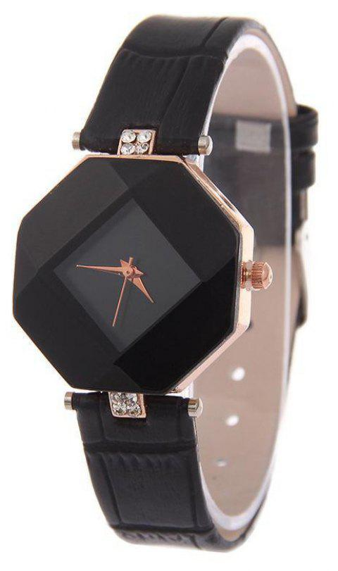 v5 Women Exquisite Artificial Crystal Leather Quartz Watch - NIGHT