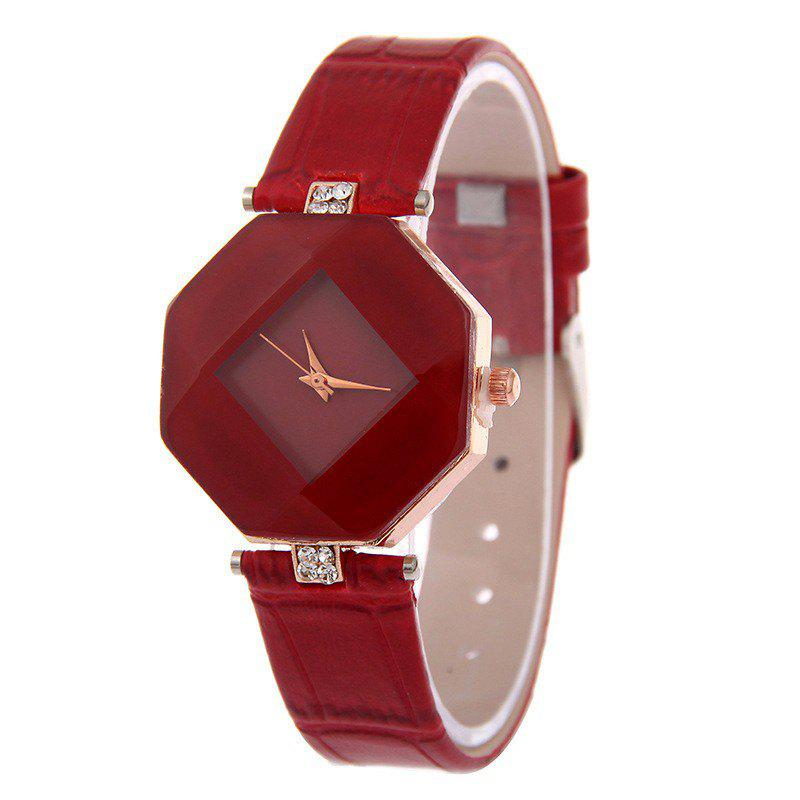 v5 Women Exquisite Artificial Crystal Leather Quartz Watch - RED WINE