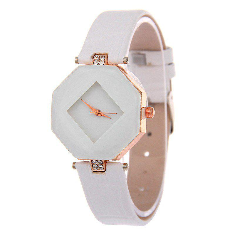 v5 Women Exquisite Artificial Crystal Leather Quartz Watch - WHITE