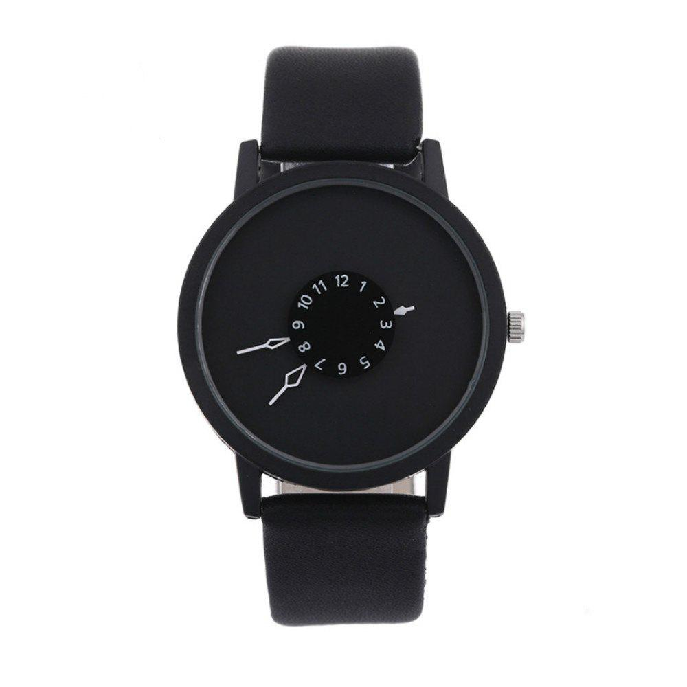 V5 Unisex Unique Dial Design PU Band Quartz Watch - BLACK