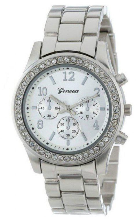 Geneva Unisex Classic Round Artificial Diamond Watch - SILVER