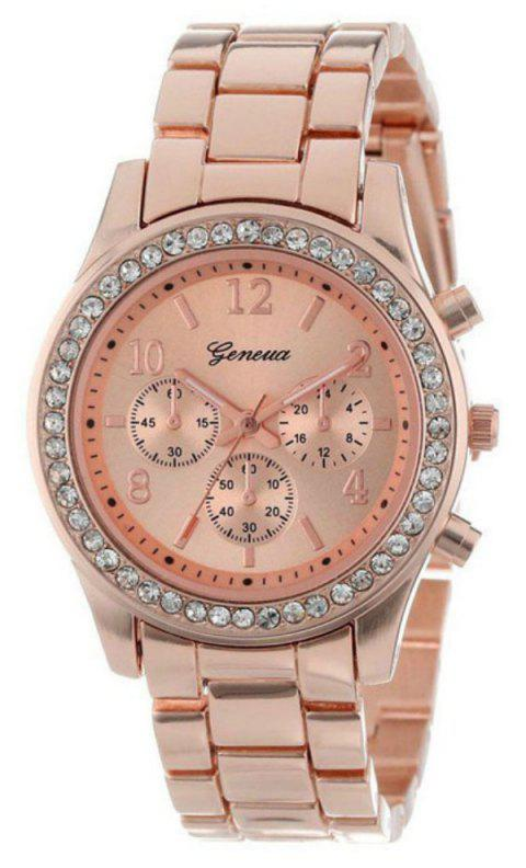 Geneva Unisex Classic Round Artificial Diamond Watch - ROSE GOLD