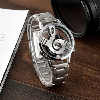 V5 Luxury Fashion Leisure Music Symbol Stainless Steel Watch - SILVER
