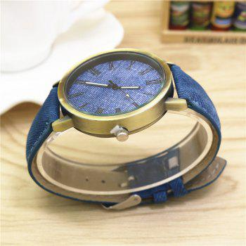 V5 Fashionable Men Leisure Vintage Canvas Band Quartz Watch - SAPPHIRE BLUE