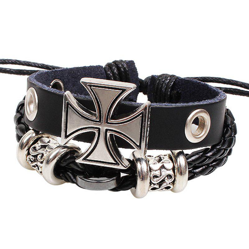 Cross Personality Men's Hand Knit Bracelet Alloy Jewelry - BLACK