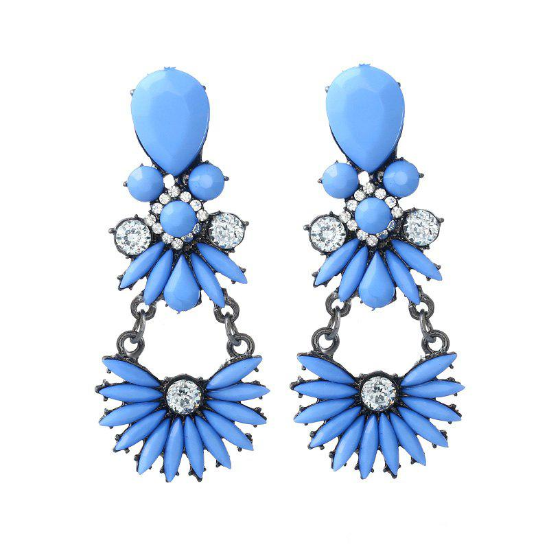 Long Flower Girl Costly Diamond Earrings - BLUE RIBBON