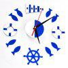 Creative DIY Wall Clock Living Room Personality Fashion Simple Mirror Wall Stick - DENIM DARK BLUE