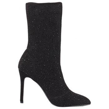 Heat Foiled Rhonestone Pointed Toe Mid Calf Stiletto Boots - BLACK 39