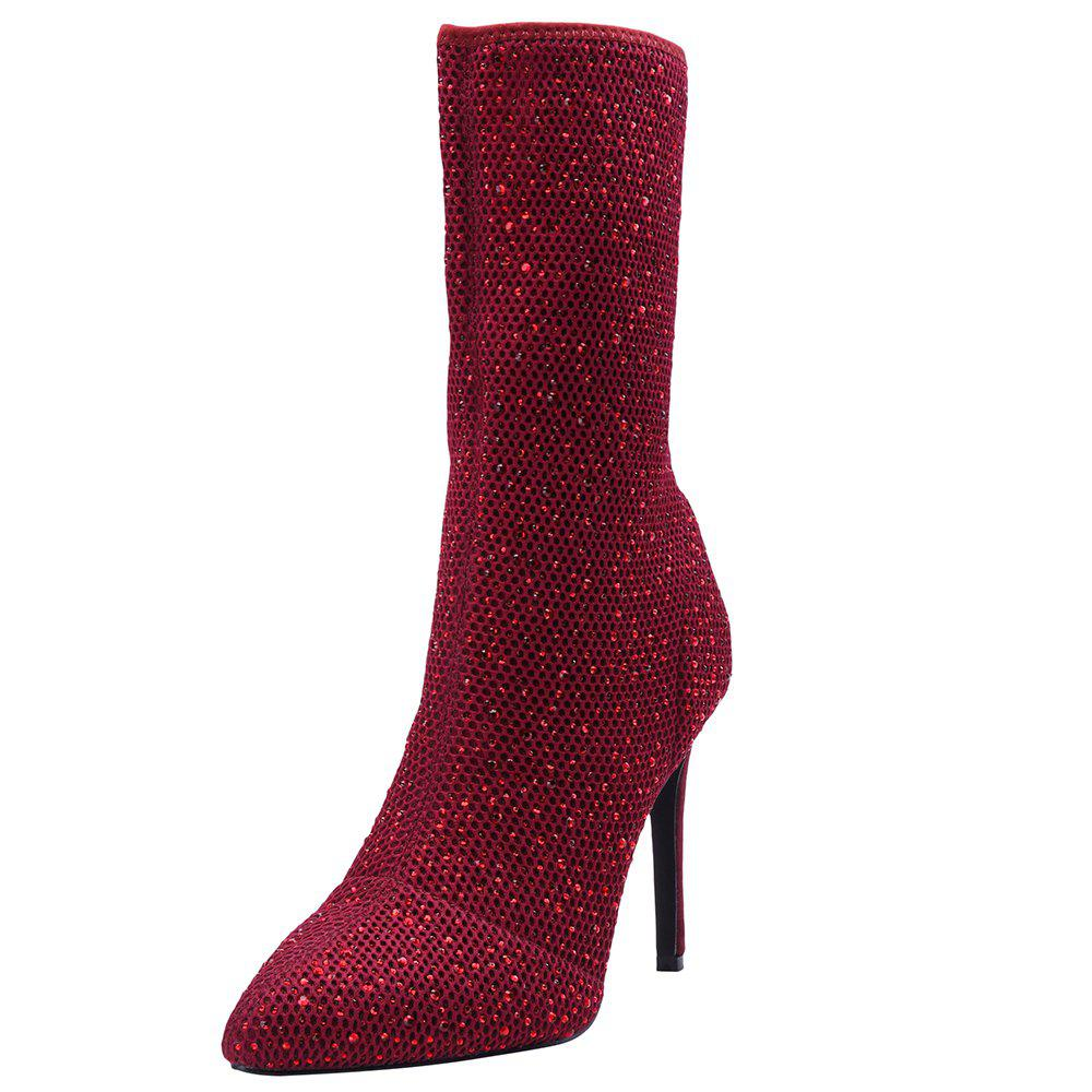 Heat Foiled Rhonestone Pointed Toe Mid Calf Stiletto Boots - RED WINE 41