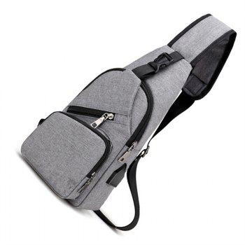 USB Charge Backpack Travel Chest Bag for Men and Women - LIGHT GRAY
