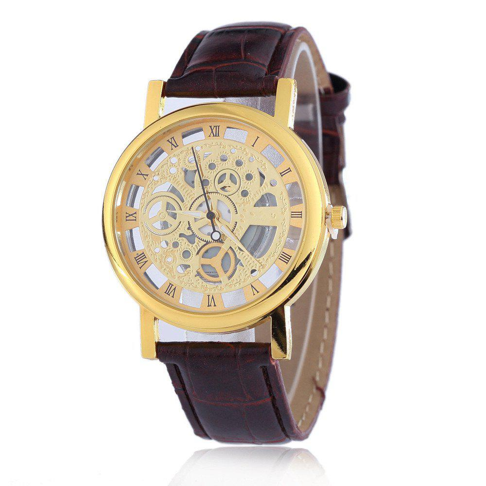 Fashion Business Men Hollow Leather Wristwatch - GOLD