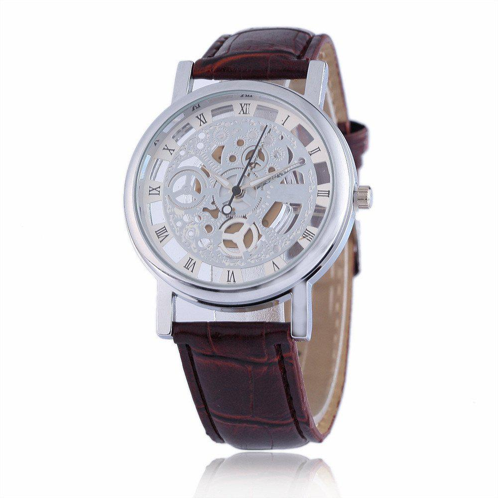 Fashion Business Men Hollow Leather Wristwatch - SILVER