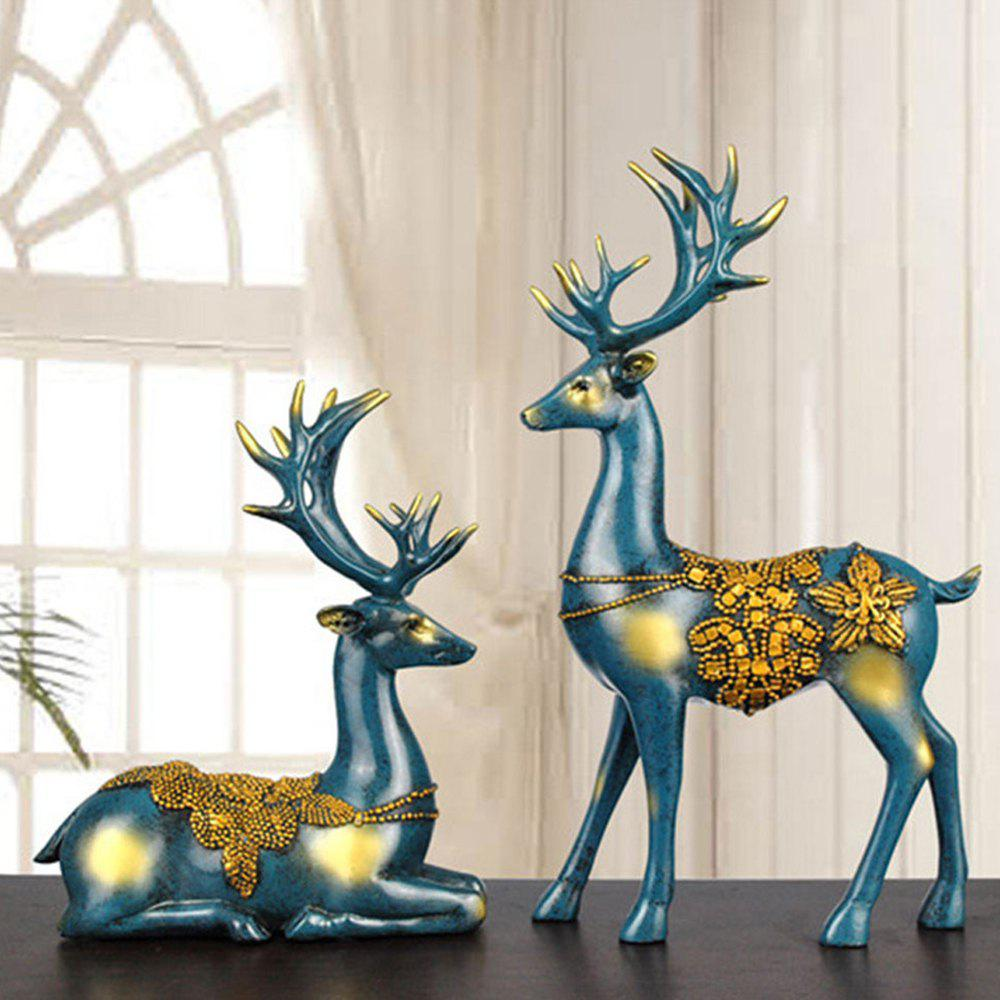 2PCS Resin Elk Decor Home Bedroom Crafts Decoration Personality Wedding Gift - BLUE