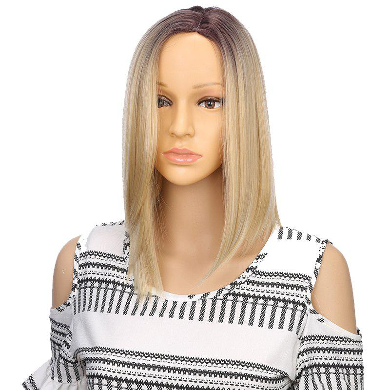 Synthetic Ombre Mid-Long Straight Bob Hair Cut Black Blonde Wigs for Girls pretty short straight blonde 8 synthetic hair wigs free shipping