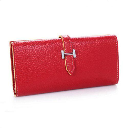 Women Fashion Korean Handbag Solid Color Mini Draw Purse - RED