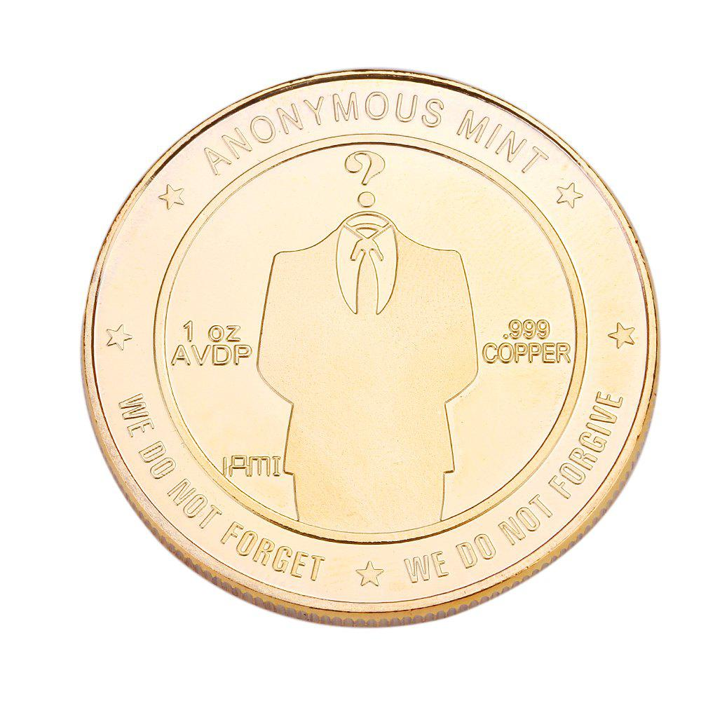 Gold Silver Emboss Anonymous Commemorative Coin - GOLD