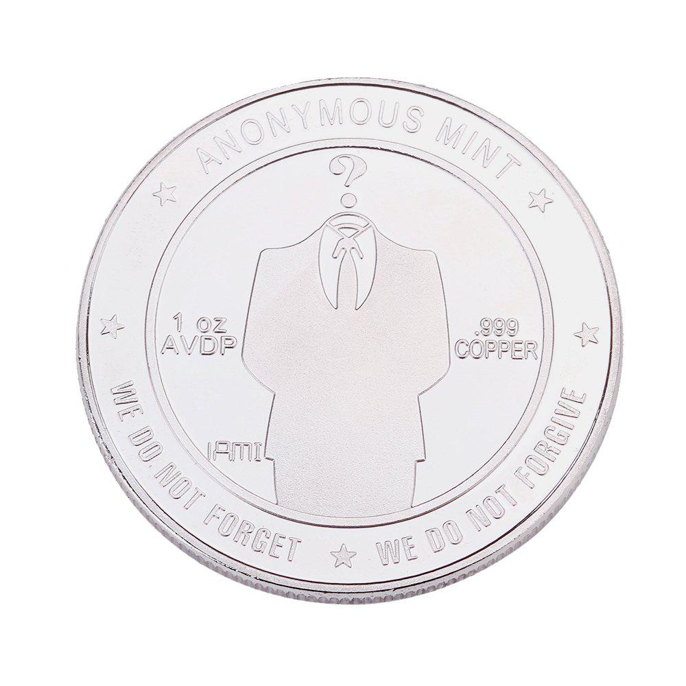 Gold Silver Emboss Anonymous Commemorative Coin - SILVER