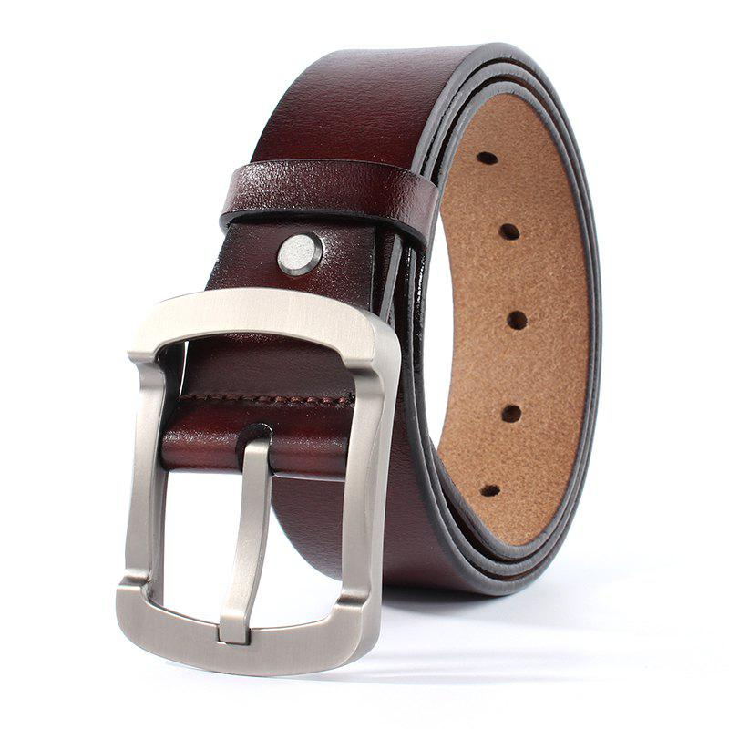 ZHAXIN 3011 Vintage Man Leather Belt Square Clasp High Quality - COFFEE 105CM