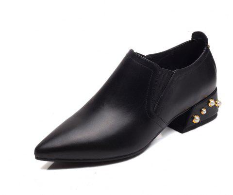 Rivet Covers with Deep Pointed Toes and Women's Shoes - BLACK 39