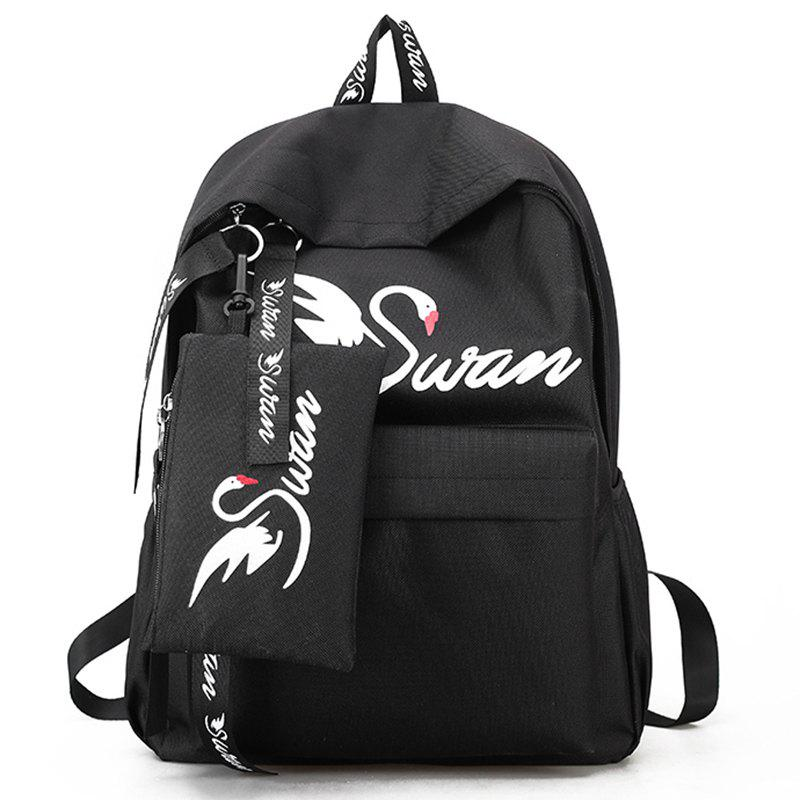 Canvas Print Simple Male Personality Backpack - BLACK