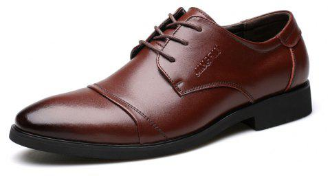 Men Soft Pointed Toe Offical Business Shoes - BROWN 39
