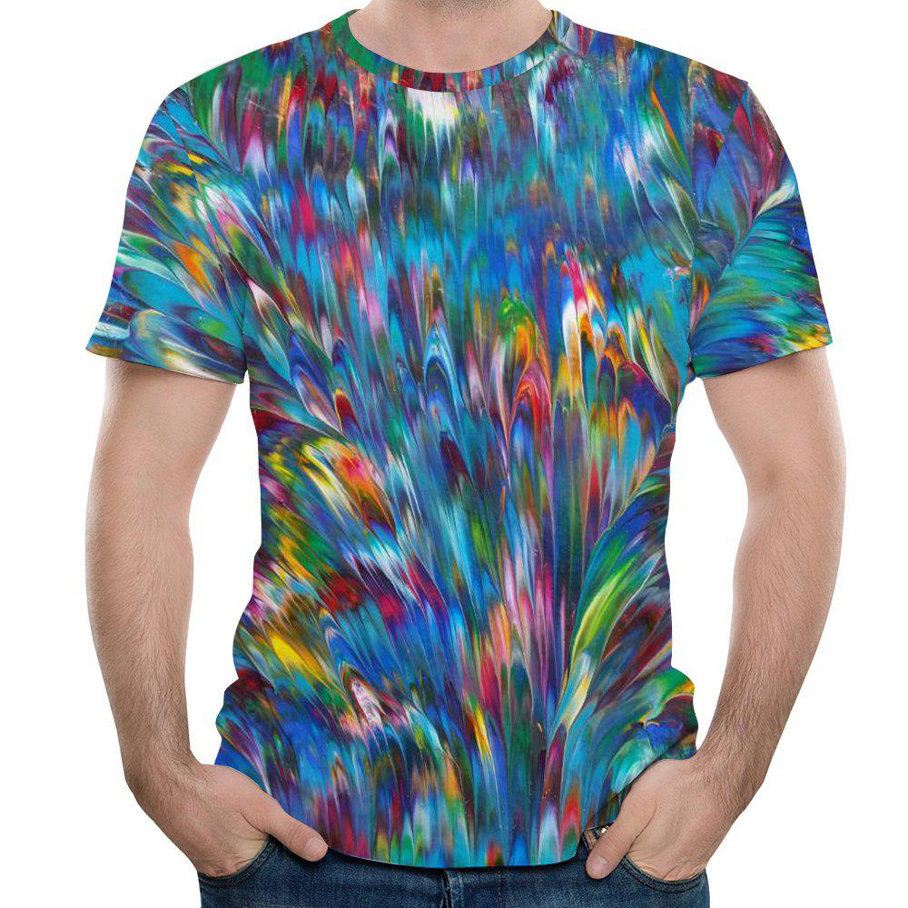 2018 Summer 3D Printed Short Sleeve T-Shirt - multicolor A 6XL