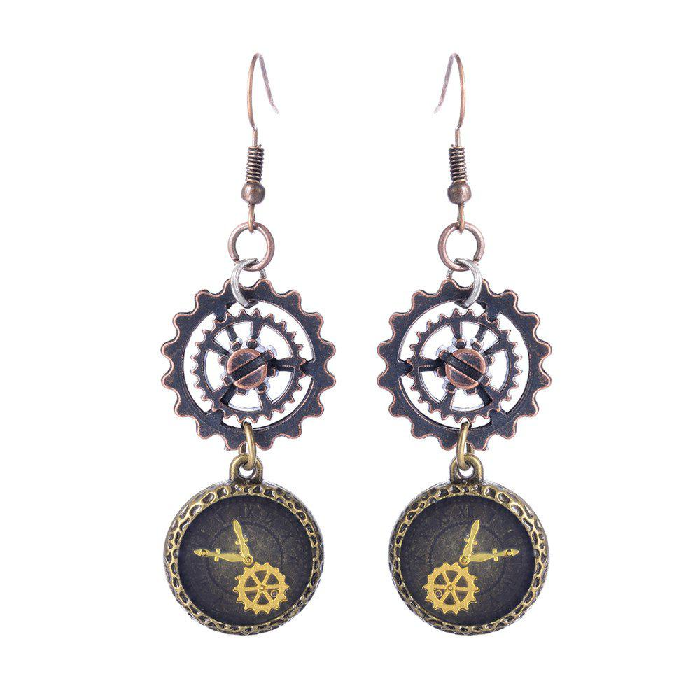 New European and American Fashion Steampunk Hourglass Gear Alloy Drop Earrings цена