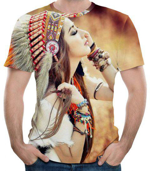 New Fashion 3D Printing Beauty Figure Men's Short Sleeve T-shirt - BURLYWOOD XL