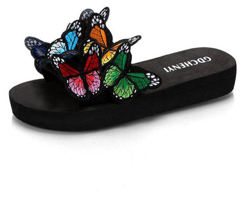 Women's Slippers Peep-Toe Comfy Casual Flat  Colorful Butterfly Decor Chic shoes - BLACK 38