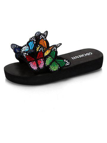 Women's Slippers Peep-Toe Comfy Casual Flat  Colorful Butterfly Decor Chic shoes