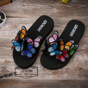 Women's Slippers Peep-Toe Comfy Casual Flat  Colorful Butterfly Decor Chic shoes - BLACK 37