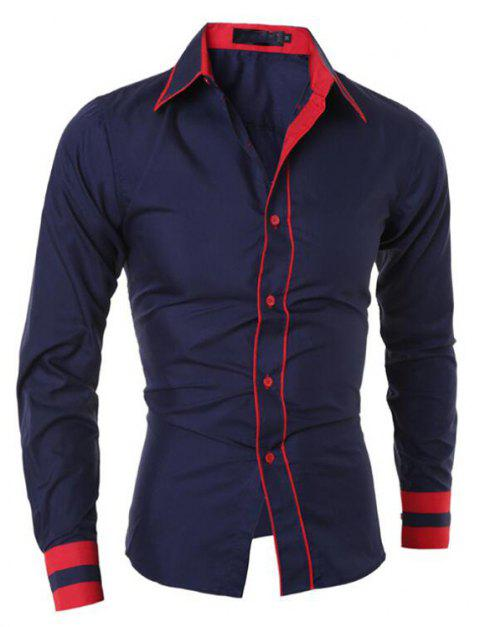 Men's Casual Simple Stripe Long Sleeves Shirts - NAVY BLUE 2XL