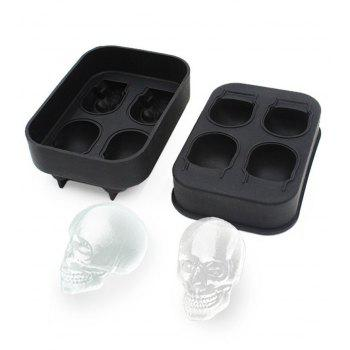 3D Skull Flexible Silicone Ice Cube Mold Tray, Makes Four Giant Iced Skulls, Easy Release Realistic Skull Ice Cube Make - NATURAL BLACK