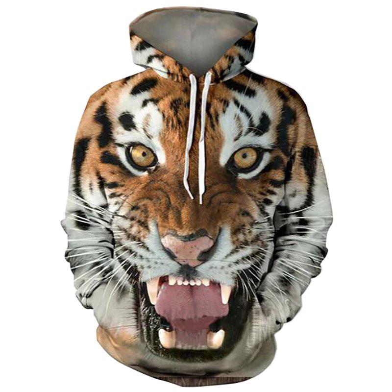 Men's 3D Print Hooded Tiger Print Sweatshirt - TIGER ORANGE M
