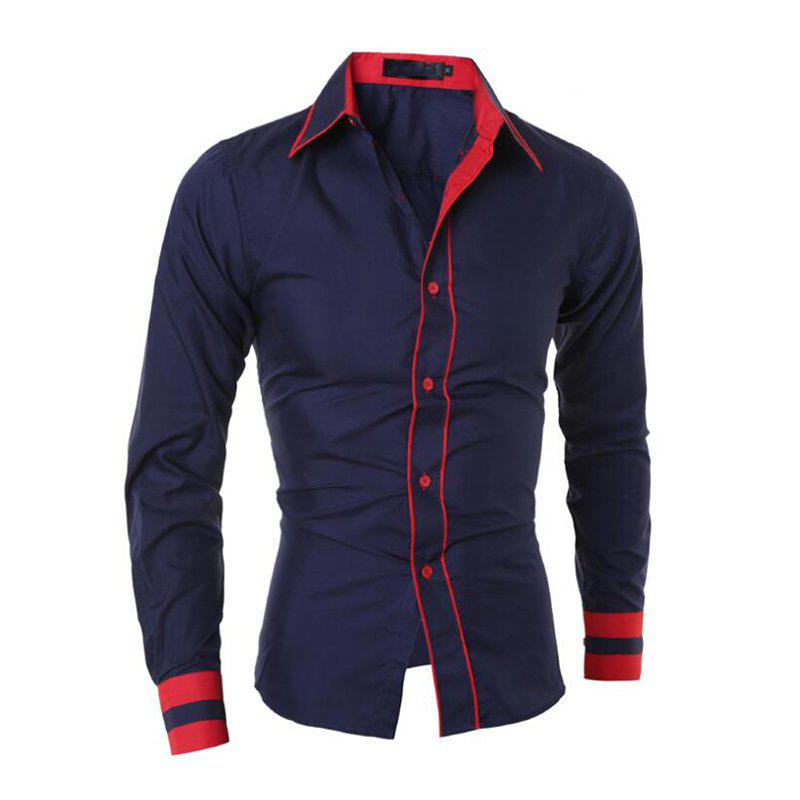 Men's Casual Simple Stripe Long Sleeves Shirts - NAVY BLUE M