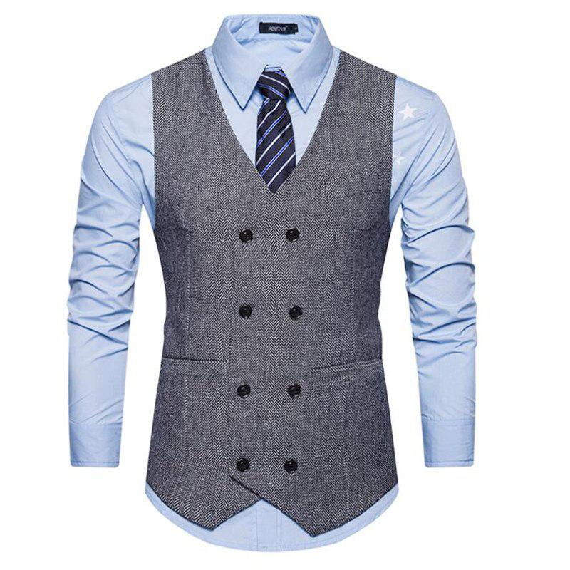 Men's Waistcoat V Neck Business Casual Double Breasted Regular Fit Tuxedo Vest - GRAY L