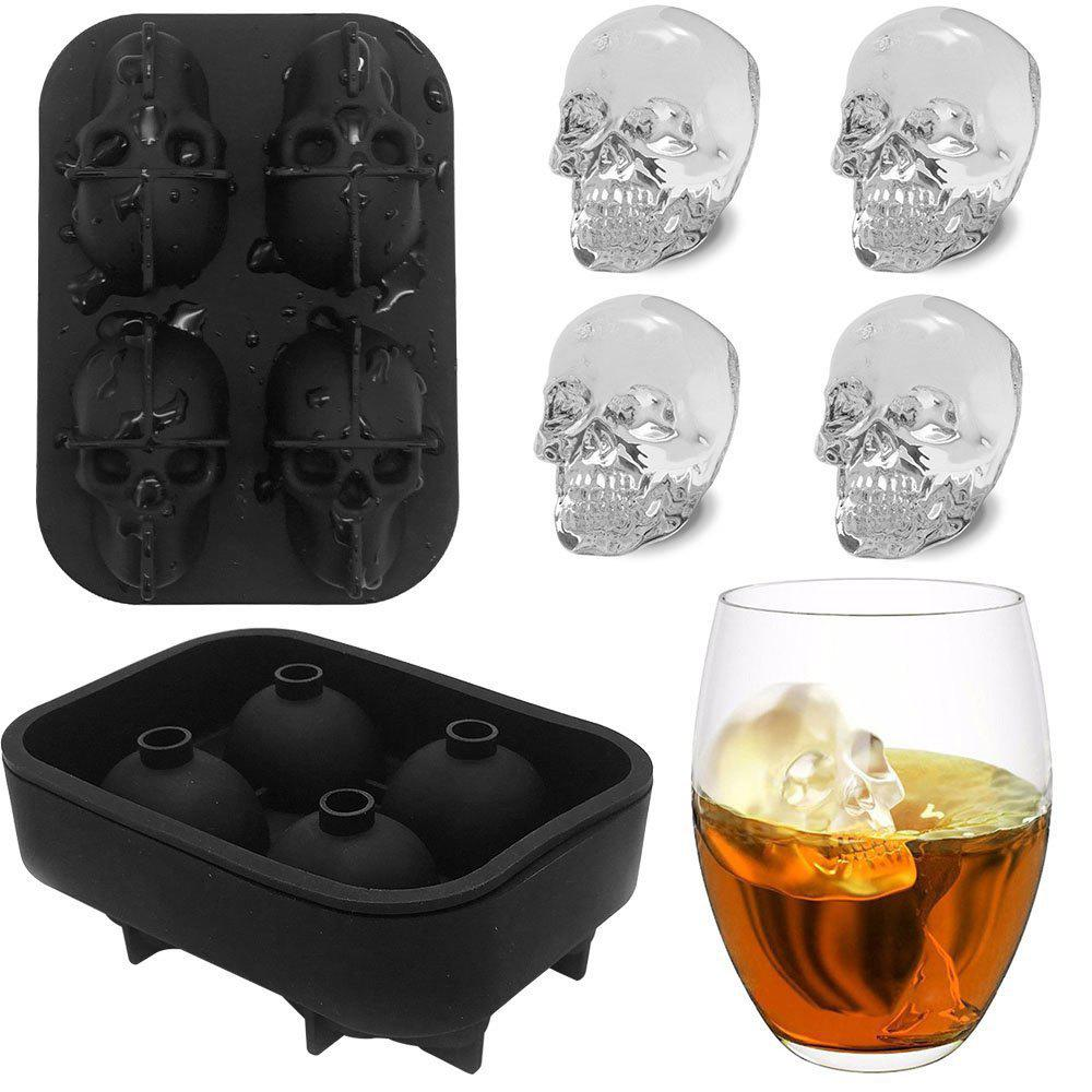 3D Skull Flexible Silicone Ice Cube Mold Tray, Makes Four Giant Iced Skulls, Easy Release Realistic Skull Ice Cube Make ice box mold yellow