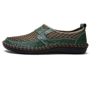 ZEACAVA Summer Men Breathable Mesh Leather Hollow Casual Shoes - GREEN 43