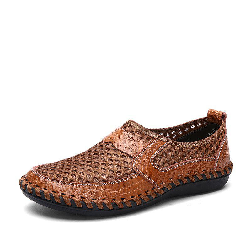 ZEACAVA Summer Men Breathable Mesh Leather Hollow Casual Shoes - CAMEL  BROWN 46