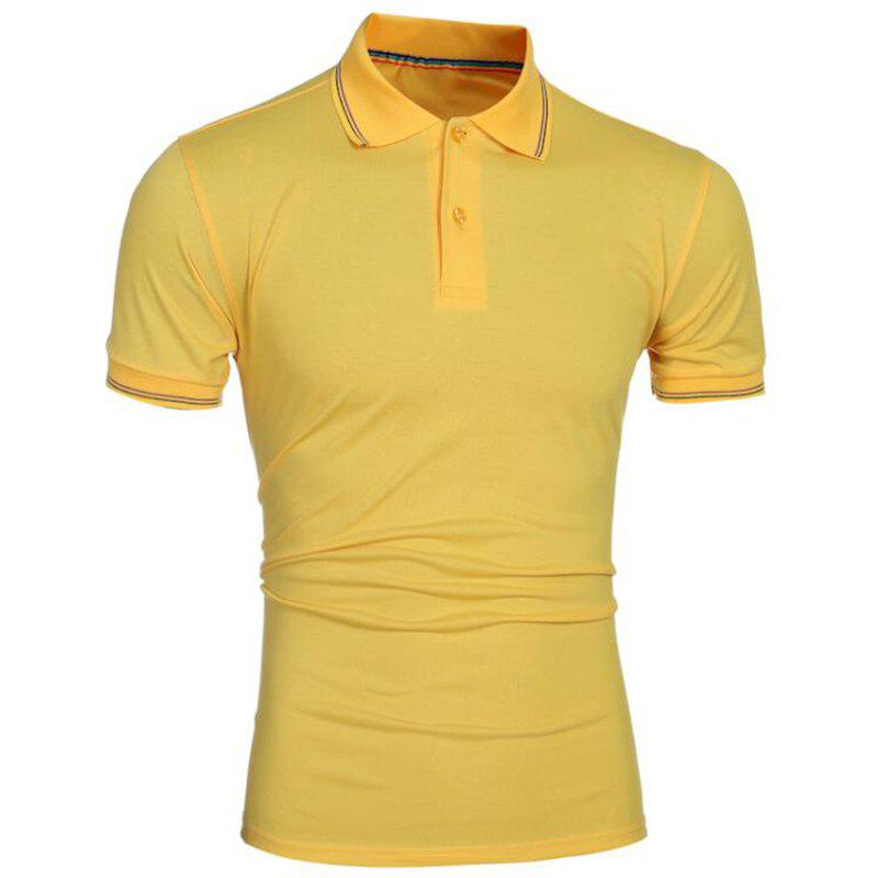 Men Pure Color Turndown Collar Short Sleeve Polo Shirt - YELLOW M