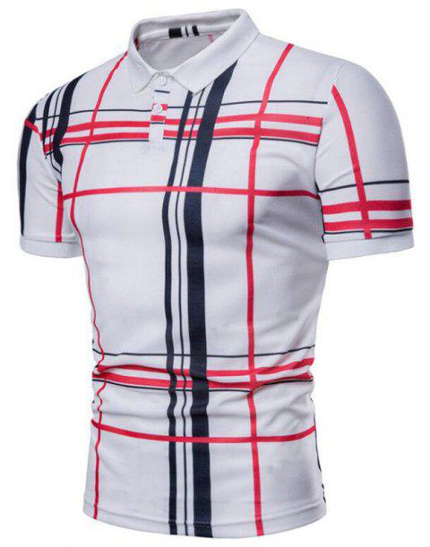 Men Casual Lattice Short Sleeve Different Frinting Grid Polo Shirt - WHITE XL