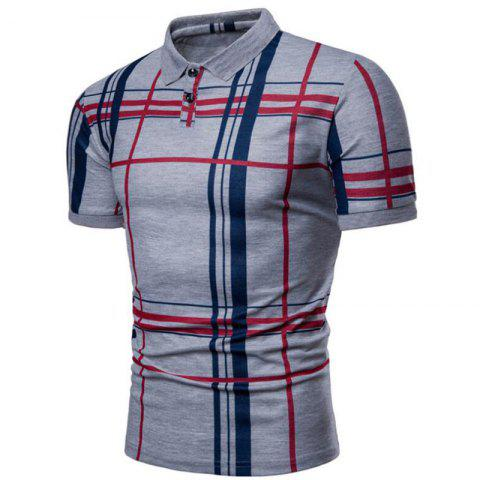 Men Casual Lattice Short Sleeve Different Frinting Grid T-Shirt - GRAY M
