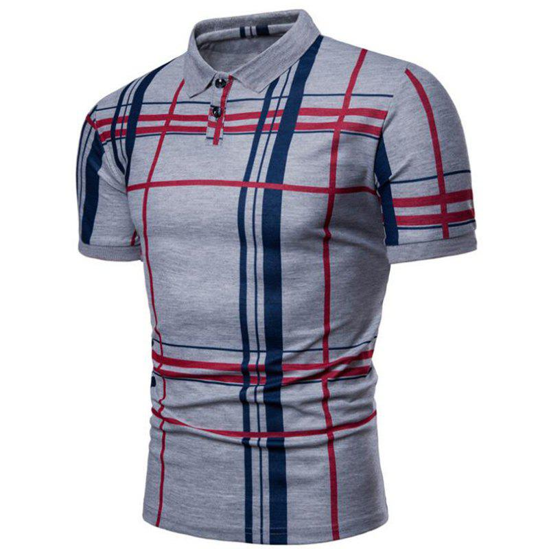 Men Casual Lattice Short Sleeve Different Frinting Grid Polo Shirt - GRAY M