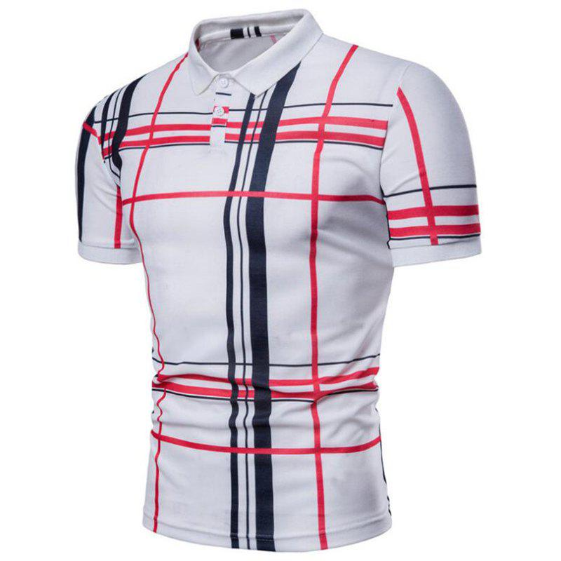 Men Casual Lattice Short Sleeve Different Frinting Grid Polo Shirt - WHITE L