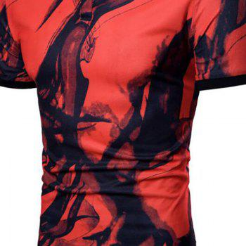 Men Casual Ink Jet Print Short Sleeve Polo Shirt - RED XL