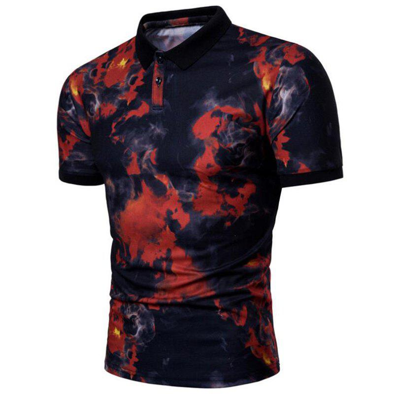 Men Casual Print Short Sleeve Polo Shirt - RED 2XL